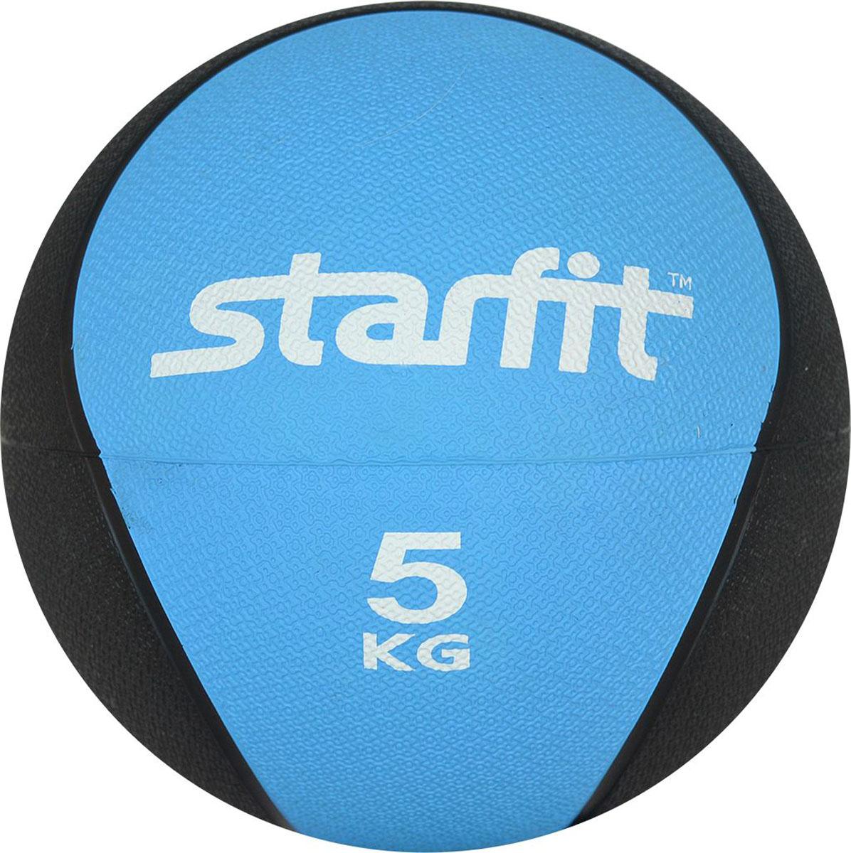 Медицинбол Starfit Pro GB-702, цвет: синий, 5 кг мячи спортивные starfit мяч гимнастический starfit gb 105 55 см прозрачный розовый