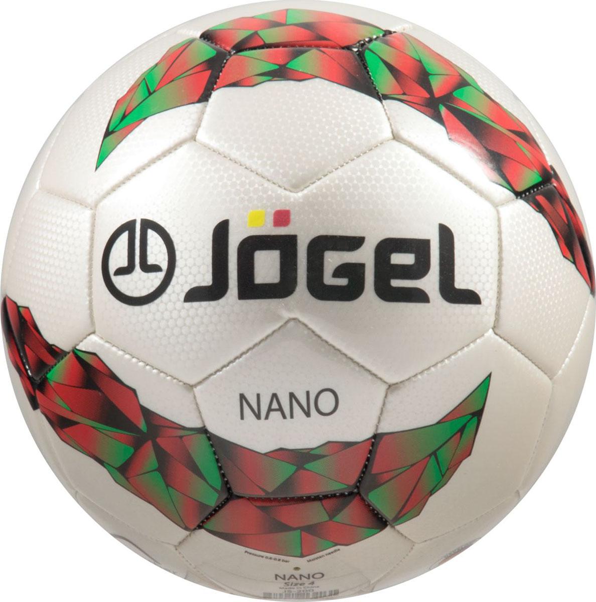 Мяч футбольный Jogel Nano, цвет: белый. Размер 4. JS-200УТ-00009333Jogel JS-200 Nano - любительский футбольный мяч, является лидером продаж в своей ценовой категории, благодаря недорогой стоимости и уникальной текстуре материала поверхности мяча, напоминающий наночастицы. Поверхность мяча выполнена из синтетической кожи (поливинилхлорид) толщиной 2,7 мм. Мяч имеет 2 подкладочных слоя и оснащен бутиловой камерой, обеспечивающим долгое сохранение воздуха в камере. Размер №4 предназначается для тренировок детей в возрасте от 8 до 12 лет. Данный мяч рекомендован для любительской игры и тренировок любительских команд.Уникальной особенностью, характерной для бренда Jogel, является традиционная конструкция мячей из 30 панелей. Мяч не рекомендован для игры при низких температурах (ниже +5° С).