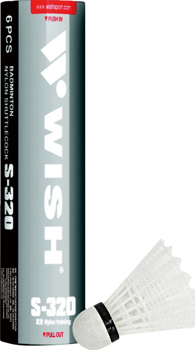 Набор воланов для бадминтона Wish S-320, нейлон, цвет: белый, 6 шт набор для бадминтона wish fusiontec 799k цвет синий