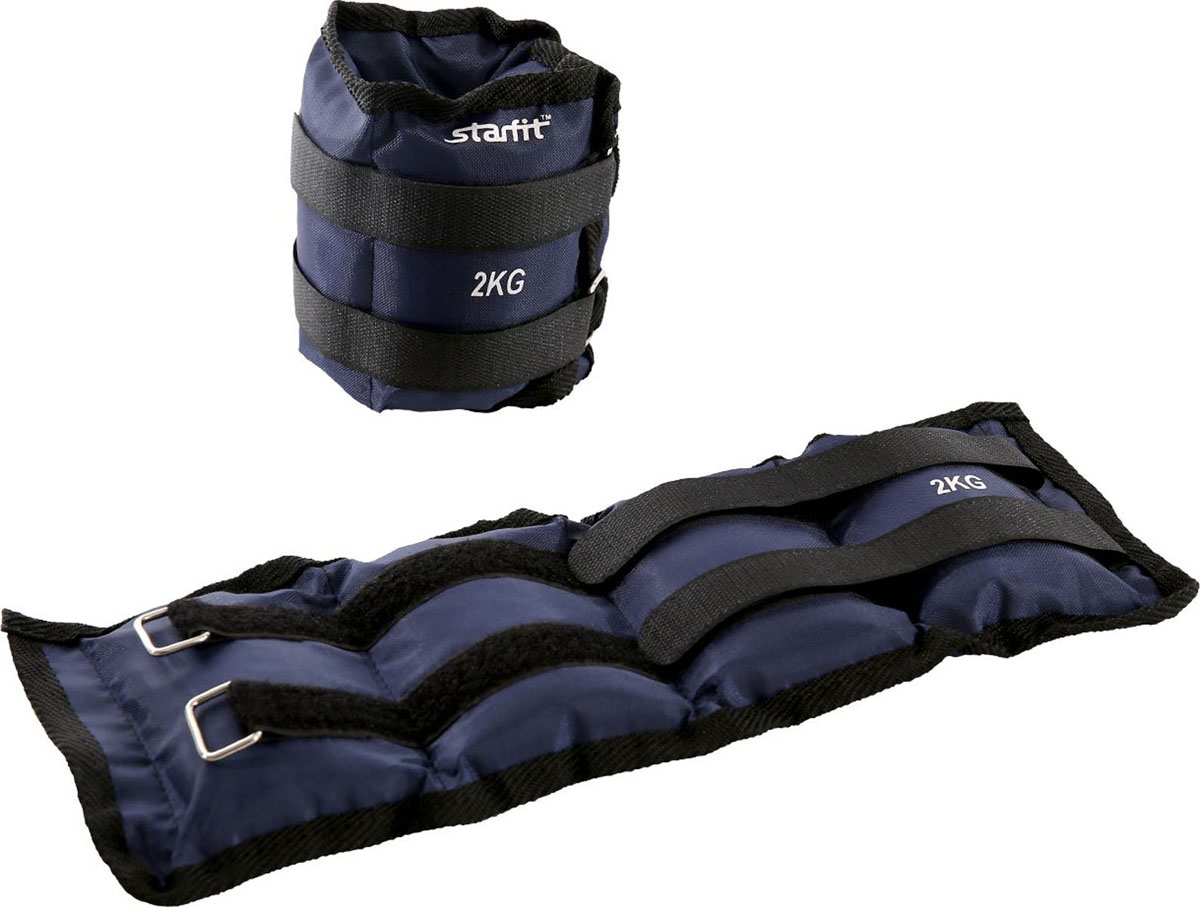 Утяжелители Starfit WT-401, цвет: темно-синий, 2 кг, 2 штУТ-00010048Утяжелители WT-401 используются в функциональном тренинге как аксессуар для отягощения рук и ног. Возможна фиксация как на руках, так и на ногах, размер регулируется с помощью велкро-липучки.Практичный тканевый материал оксфорд не покрывается затяжками после многократного использования липучек. Наполнитель - железная стружка.В комплекте стильная и практичная сумка с утяжками для удобного хранения, она продлит срок службы изделия.Тренировка с утяжелителями укрепляет сердечно-сосудистую систему, помогает привести мышцы в тонус, развивает выносливость, силу, взрывную скорость. Улучшается общее состояние организма.Дополнительная нагрузка способствует сжиганию большего количества калорий, позволяя добиться лучшего результата тем, кто хочет похудеть.В комплекте 2 утяжелителя. Вес одного утяжелителя: 2 кг.Размер (ДхШ): 37 х 15 см. Длина велкро-липучки: 49 см.Ширина велкро-липучки: 2,5 см.
