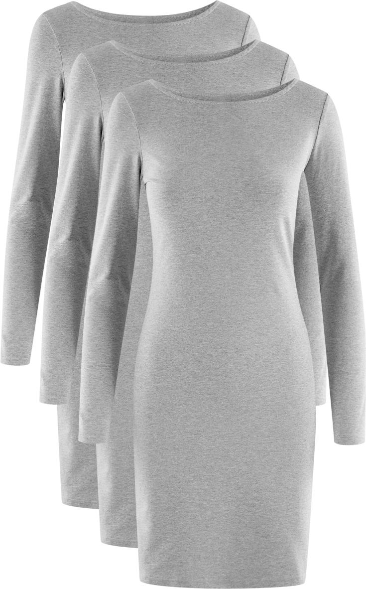 Платье oodji Ultra, цвет: серый, 3 шт. 14001183T3/46148/2300M. Размер L (48)14001183T3/46148/2300MПлатье от oodji выполнено из высококачественного хлопкового трикотажа. Модель облегающего кроя с длинными рукавами и круглым вырезом горловины.В комплект входят три платья.