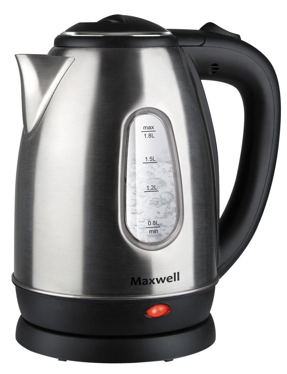 Maxwell MW-1082(ST) чайник электрическийMW-1082(ST)Стильный чайник Maxwell MW-1082(ST) обязательно станет любимым аксессуаром на вашей кухне. Мощность 1850 Вт позволит в считанные минуты вскипятить воду, а объем 1,8 л идеален для того, чтобы порадовать всю семью вкуснейшим чаем. Корпус чайника из нержавеющей стали позволяет сохранить полезные свойства воды и ее изначальный вкус. Удобно расположенные клавиши открытия крышки и включения/выключения обеспечат комфортную работу с устройством. А специальное место для хранения шнура экономит пространство.