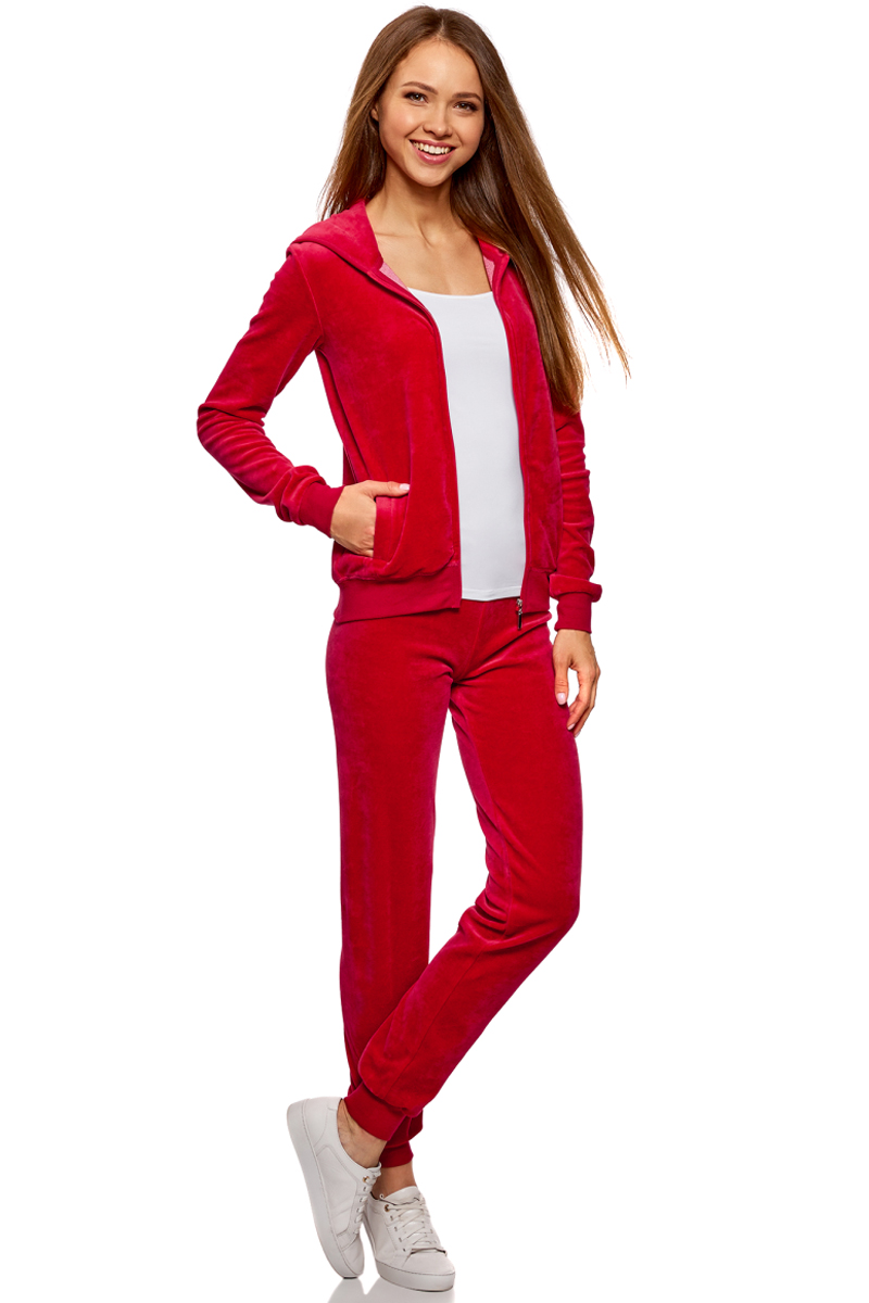 Брюки спортивные женские oodji Ultra, цвет: красный. 16701051B/47883/4500N. Размер M (46)16701051B/47883/4500NЖенские спортивные брюки oodji изготовлены из качественной смесовой ткани. Модель выполнена с широким эластичным поясом на талии и с завязками. Низы брючин дополнены широкими манжетами.