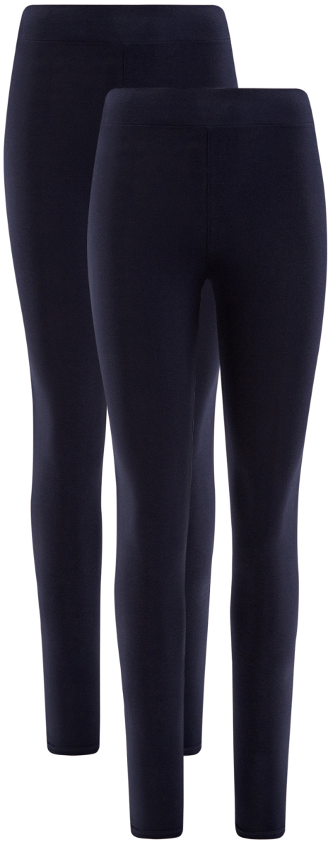 Леггинсы женские oodji Ultra, цвет: темно-синий, 2 шт. 18700046T2/47618/7900N. Размер XXS (40)