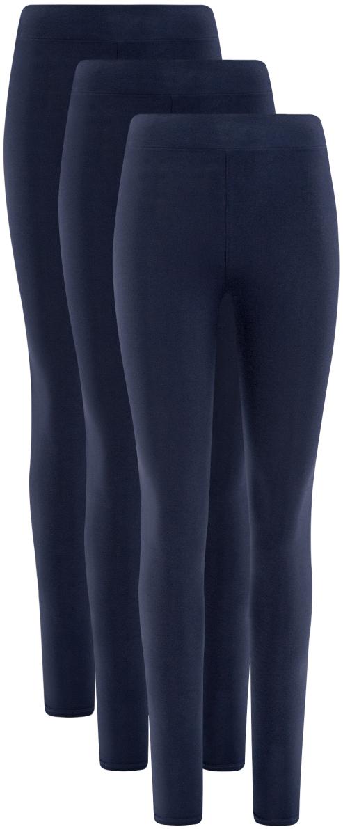 Леггинсы женские oodji Ultra, цвет: темно-синий, 3 шт. 18700046T3/47618/7900N. Размер XL (50)18700046T3/47618/7900N