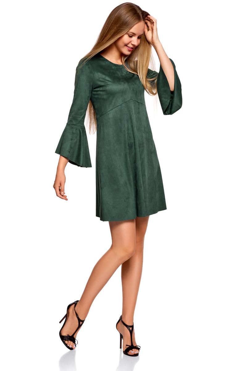 Платье oodji Ultra, цвет: зеленый. 18L11002/46453/6E00N. Размер 38-170 (44-170)18L11002/46453/6E00NОригинальное платье oodji Ultra выполнено из мягкой искусственной замши. Модель свободного кроя мини-длины застегивается на скрытую молнию на спинке и оформлена воланами. Платье хорошо смотрится на любой фигуре. Слегка приталенный крой подчеркивает талию, а более свободная юбка стройнит ноги и сглаживает линию бедер. В таком платье можно пойти в офис, на учебу, свидание или отправиться на встречу с подругами.