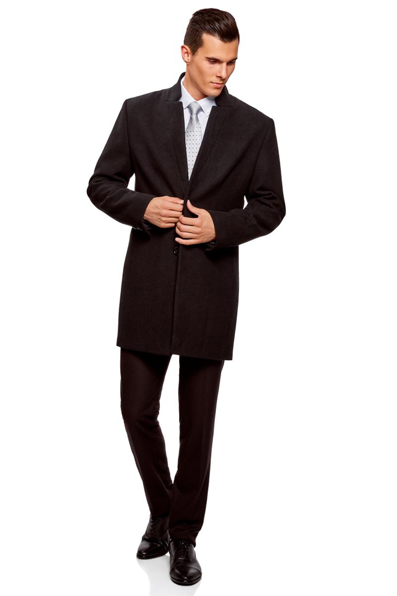Пальто мужское oodji Lab, цвет: черный. 1L314009M/44412/2900N. Размер 46-182 (46-182)1L314009M/44412/2900N