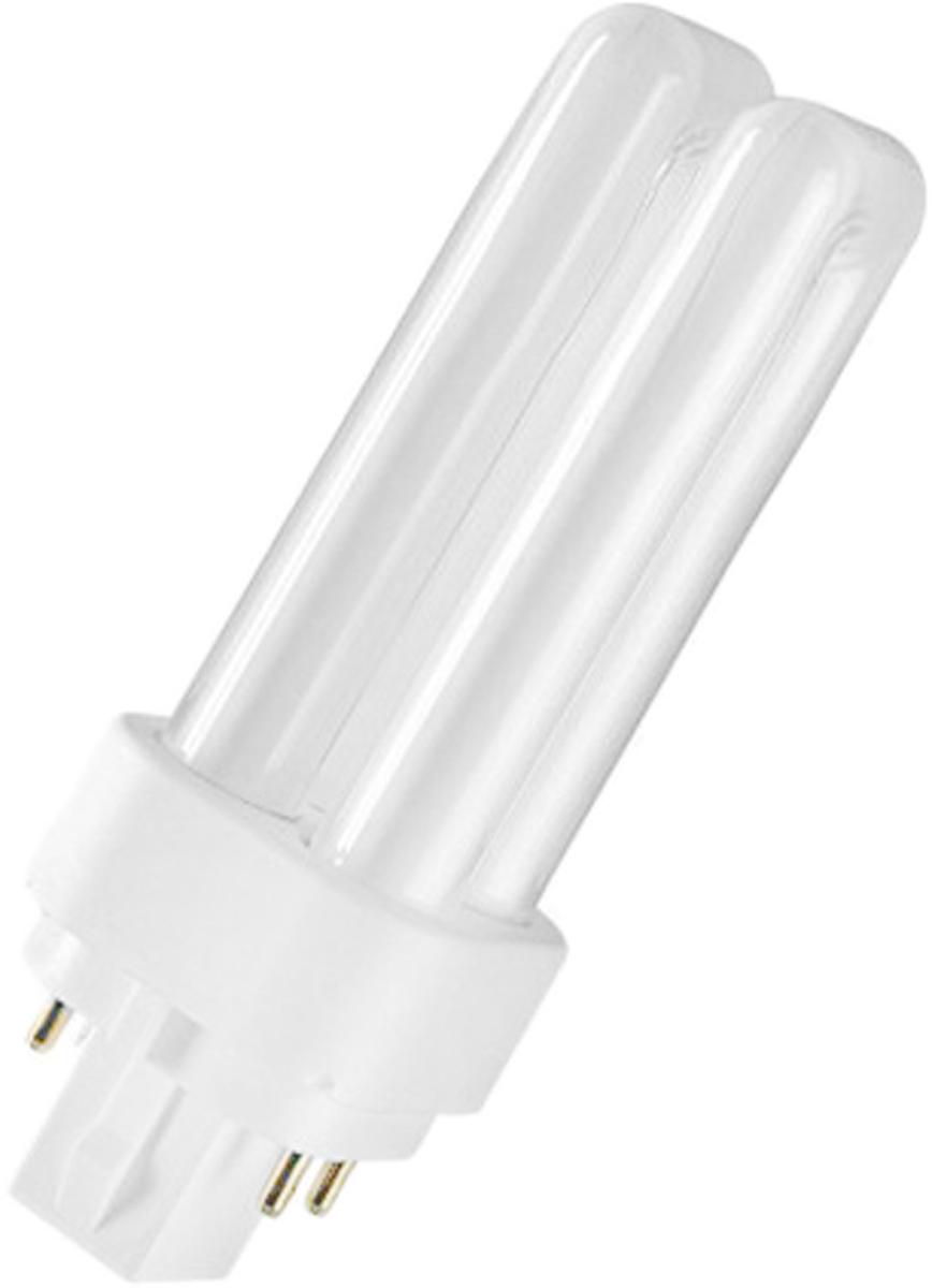 Лампа люминесцентная Osram Dulux D/E 18W/840 G24q-2 40503000176174050300017617Люминесцентная лампа, имеющая изогнутую форму колбы, что позволяет разместить лампу в светильнике меньших размеров. Такие лампы нередко имеют встроенный электронный дроссель. Компактные люминесцентные лампы разработаны для применения в конкретных специфических типах светильников либо для замены ламп накаливания в обычных.