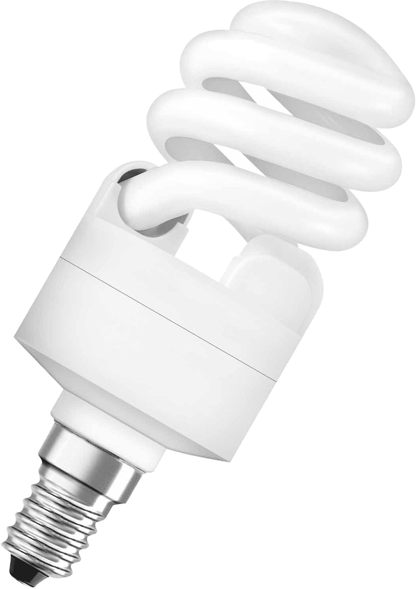 Лампа люминесцентная Osram Duluxstar Mini Twist 15Вт/840 E14 220-240В 40528999161974052899916197Люминесцентная лампа, имеющая изогнутую форму колбы, что позволяет разместить лампу в светильнике меньших размеров. Такие лампы нередко имеют встроенный электронный дроссель. Компактные люминесцентные лампы разработаны для применения в конкретных специфических типах светильников либо для замены ламп накаливания в обычных.
