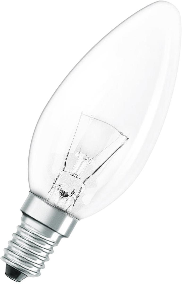 Лампа накаливания Osram Classic B CL 40W E14 40083217886414008321788641Конструкция лампы состоит из стеклянной колбы, заполненной инертным газом. Основу устройства составляет тело накала или вольфрамовая спираль, которая под воздействием электрического тока начинает излучать свечение.Лампы накаливания используются для всеобщего, местного и наружного освещения в быту и промышленности в сетях переменного тока напряжением 220 В частотой 50 Гц