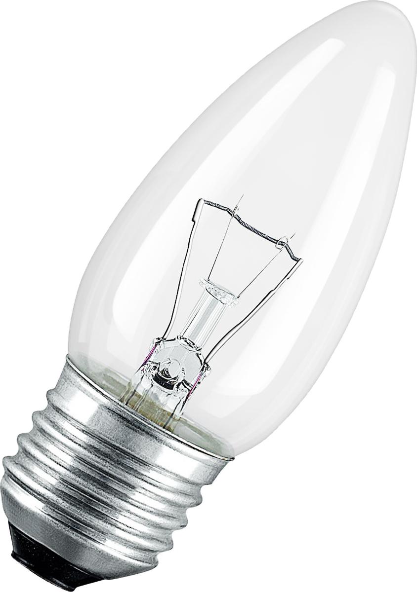 Лампа накаливания Osram Classic B CL 40W E27 40083217885804008321788580Конструкция лампы состоит из стеклянной колбы, заполненной инертным газом. Основу устройства составляет тело накала или вольфрамовая спираль, которая под воздействием электрического тока начинает излучать свечение.Лампы накаливания используются для всеобщего, местного и наружного освещения в быту и промышленности в сетях переменного тока напряжением 220 В частотой 50 Гц
