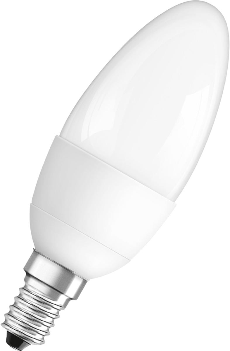 Лампа светодиодная Osram Classic B 40 5.5W/827 230-240V E14 40528992107384052899210738Светодиодные энергосберегающие лампы потребляют на 70% меньше электроэнергии, что не только экономит деньги, но и снижает нагрузку на проводку. Свет, который излучают светодиодные светильники, не раздражает глаза и может быть разным по интенсивности и световой температуре. Они легко монтируются в стены и потолки, в том числе и в натяжные. Разнообразный дизайн позволяет подобрать светодиодные лампы для любого пространства.