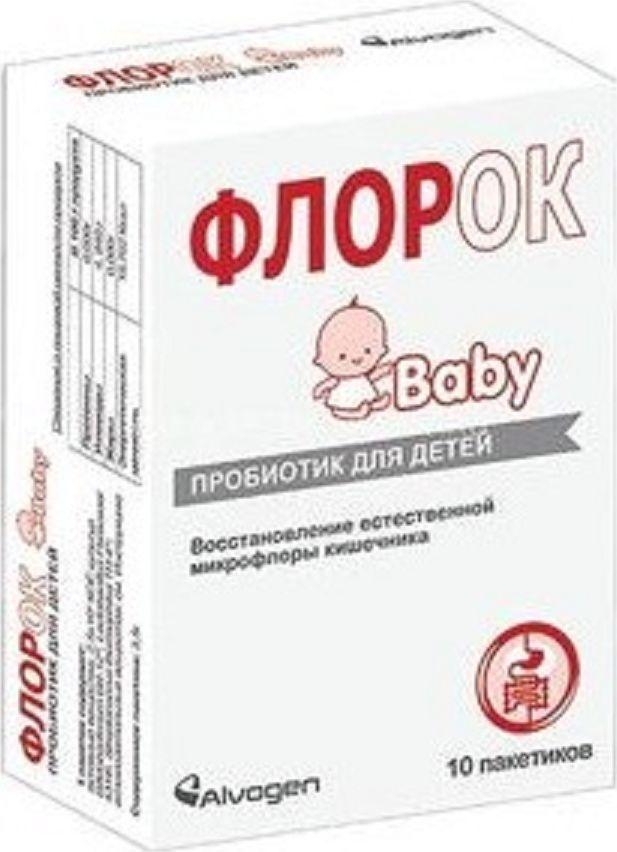 ФлорОК Baby пакетики №10219062ФлорОК Baby — это комбинированный пробиотик, специально разработанный для младенцев и детей, содержащий три наиболее изученные культуры: Bifidobacterium, Lactobacillus Paracasei и Streptococcus thermophilus. Сфера применения: ГастроэнтерологияПробиотическое и пребиотическое