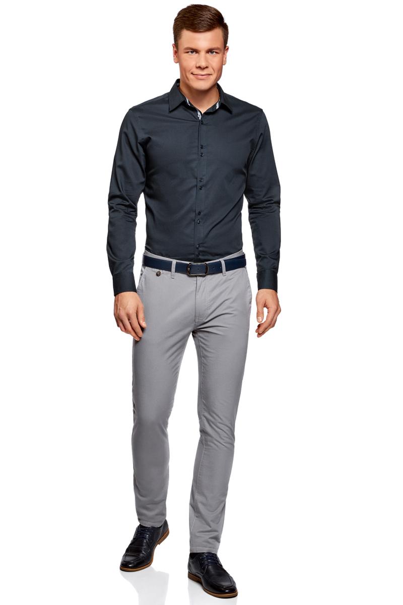 Рубашка мужская oodji Basic, цвет: темно-синий. 3B110020M/39771N/7900N. Размер 37 (42-182)3B110020M/39771N/7900NМужская рубашка oodji с длинными рукавами изготовлена из натурального хлопка. Рубашка застегивается на пуговицы, манжеты рукавов дополнены застежками-пуговицами.