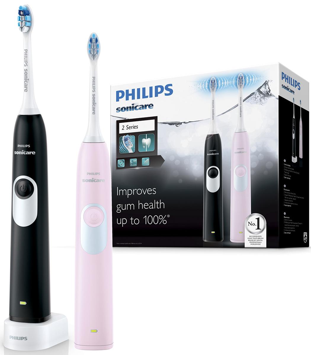 Philips Sonicare 2 Series gum health HX6232/41 набор из 2 электрических зубных щетокHX6232/41Звуковая зубная щётка Philips Sonicare может улучшить состояние дёсен на 100 %. Она обеспечивает превосходное удаление налёта и тщательную очистку межзубных промежутков для улучшения здоровья дёсен - это более здоровые дёсны, чем при использовании обычной зубной щётки. Динамический поток жидкости, создаваемый Sonicare, очищает межзубные промежутки. Фиксируемая под углом к рукоятке чистящая насадка для более качественной чистки задних зубов и более эффективная чистка труднодоступных участков по сравнению с обычными зубными щётками. Безопасно для ортодонтических скоб, пломб и виниров. В комплекте 2 зубных щётки с насадками ProResults!; №1 бренд звуковых зубных щеток рекомендуемый стоматологами всего мира. На основании опроса более 4500 зубных врачей, Приоритиз Ресерч, 2012. Более 20 лет клинических исследований SonicareИрригационный эффект технологии Sonicare способствует более качественному удалению зубного налета из труднодоступных участков полости рта и вдоль линии десен. Удаляет до 7 раз больше налета по сравнению с обычной зубной щеткой*.Таймер с интервалом Quadpacer обеспечивает тщательную чистку всей полости рта. Каждые 30 секунд зубная щетка издает сигнал, подсказывающий, что следует перейти к следующему участку. Аккуратные движения щетинок зубной щетки Philips Sonicare безопасны для пломб, а также для ортодонтических скоб, имплантатов и виниров, поэтому вы можете не беспокоиться о результатах чистки.2-минутный режим Clean (Чистка) обеспечивает эффективное удаление налета (время чистки, рекомендованное стоматологами). Режим White (Отбеливание) удаляет потемнения с поверхности эмали, отбеливает и полирует зубы. Борется с налетом от кофе, чая, табака и красного вина.Электрические зубные щетки. Статья OZON Гид