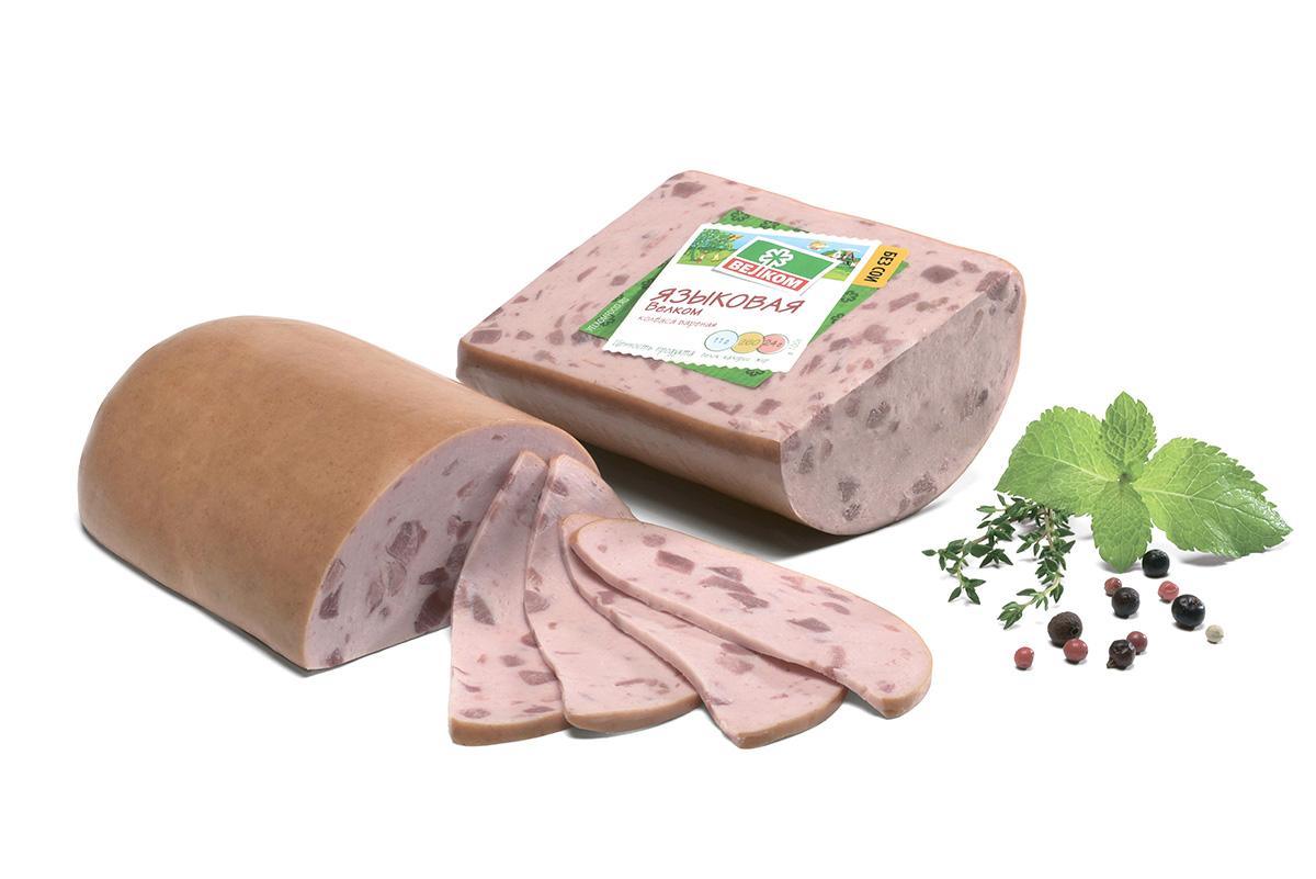 Велком Языковая колбаса, 500 г70051Велком Языковая колбаса.Добавление языка делает классическую вареную колбасу еще более вкусной, а главное полезной. Ведь язык богат железом, витаминами и другими микроэлементами, необходимыми каждому человеку.Пищевая ценность на 100 г продукта: белки - не менее 11 г, жир - не более 24 г.Энергетическая ценность: 260 ккал.