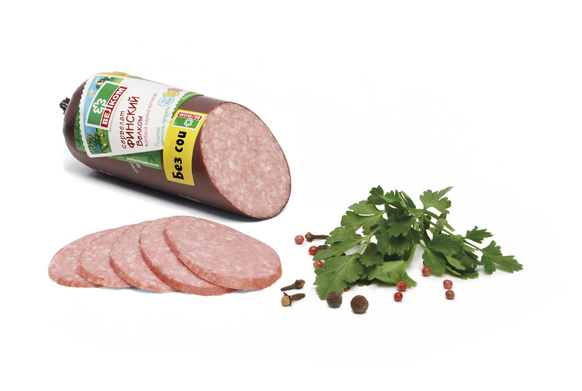 Велком Сервелат Финский, колбаса варено-копченая, 370 г колбаса велком сервелат сырокопченый