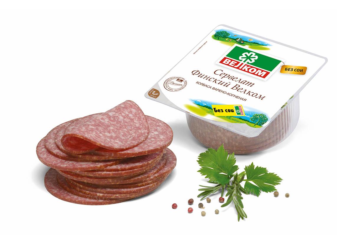 Велком Финский сервелат варено-копченый, 350 г70819Сервелат Финский – идеальное сочетание мяса свинины, говядины и лучших специй. Строгое соблюдение рецептуры и тщательный контроль на каждом этапе производства – залог неизменно стабильного качества Велком.