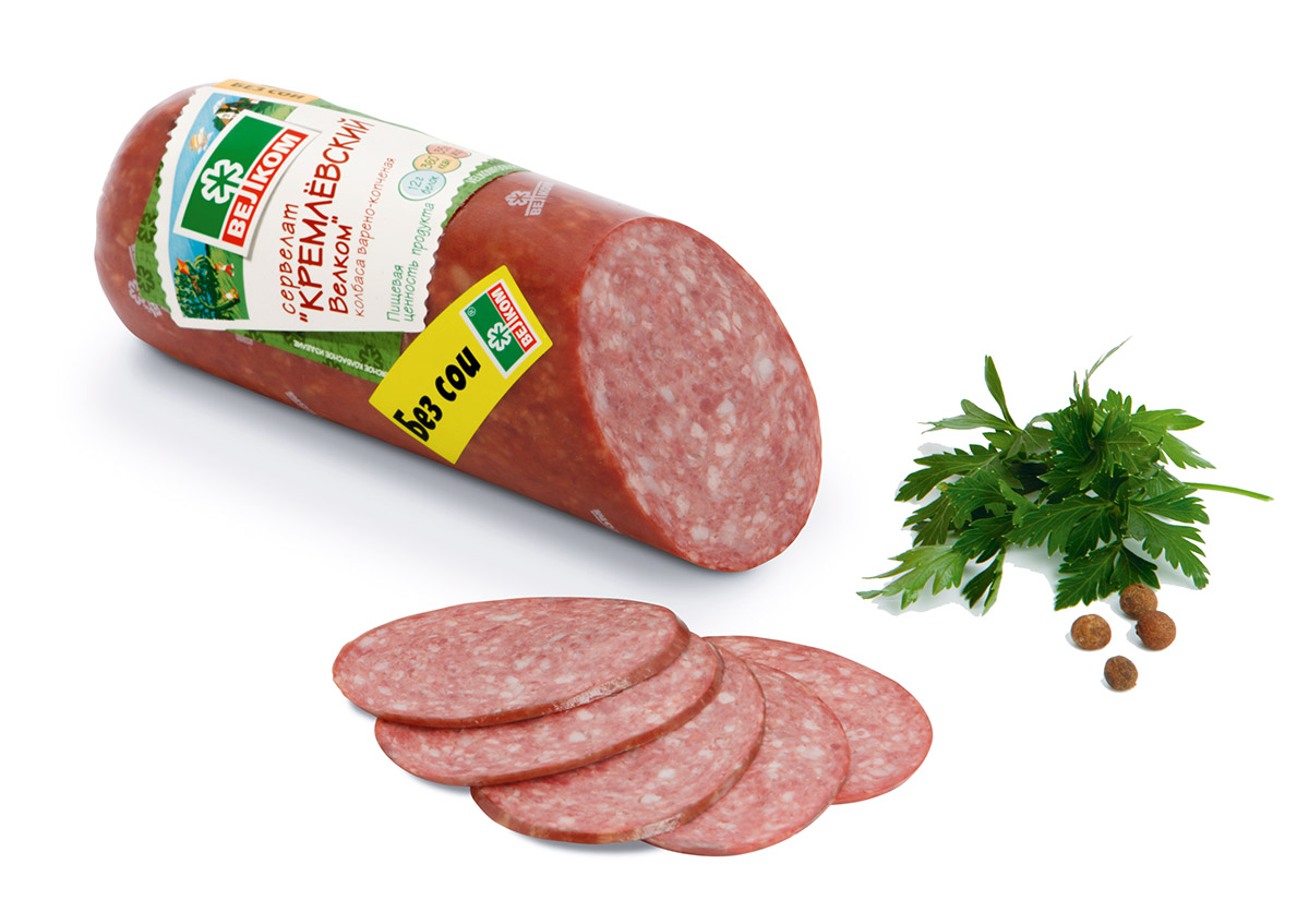 Велком Кремлевский сервелат колбаса варено-копченая, 370 г70971Классический варено-копченый сервелат с мелкозернистым рисунком станет отличным дополнением к завтраку, легкому перекусу или в составе пиццы.