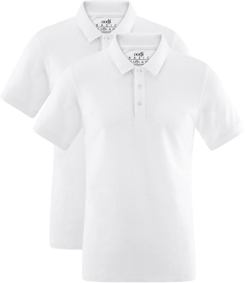 Поло мужское oodji Basic, цвет: белый, 2 шт. 5B422001T2/44032N/1000N. Размер XXL (58/60)