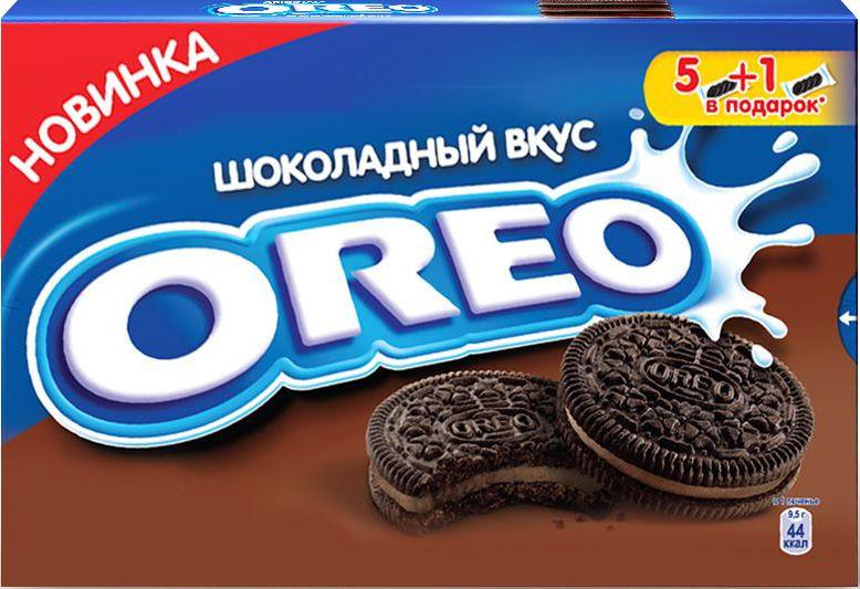 Oreo печенье с какао и начинкой со вкусом шоколада, 228 г7622210768131Oreo — печенье, состоящее из двух шоколадно-сахарных черных коржиков-дисков и сладкой шоколадной начинки между ними. В США выпускается кондитерской компанией Nabisco. Печенье Oreo стало самым продаваемым и популярным печеньем в Соединённых Штатах с момента начала его выпуска в 1912 году
