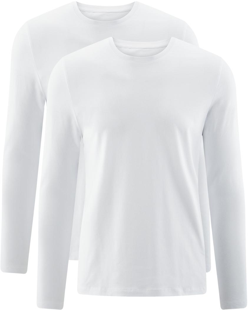 Лонгслив мужской oodji Basic, цвет: белый, 2 шт. 5B512004T2/46737N/1000N. Размер XS (44)