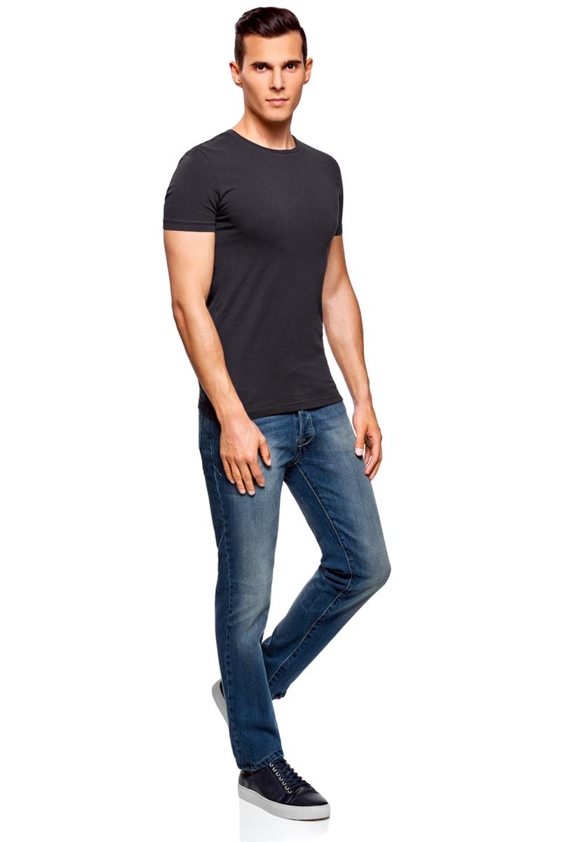 Футболка мужская oodji Basic, цвет: черно-синий. 5B611004M/46737N/7901N. Размер L (52/54)5B611004M/46737N/7901NМужская базовая футболка от oodji выполнена из эластичного хлопкового трикотажа. Модель с короткими рукавами и круглым вырезом горловины.