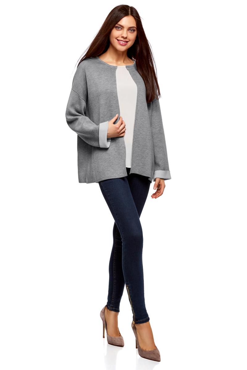 Жакет женский oodji Ultra, цвет: темно-серый. 63212588/47063/2512B. Размер XS (42) пуловеры oodji пуловер