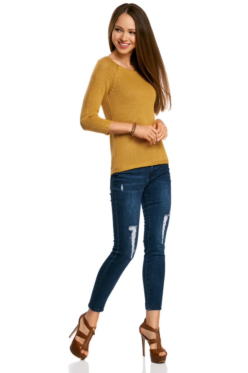 Джемпер женский oodji Ultra, цвет: желтый. 63803046-3B/31326/5700N. Размер XXS (40)63803046-3B/31326/5700NУютный женский джемпер с вырезом горловины лодочка и рукавами-реглан длиной 3/4 выполнен из акриловой пряжи.