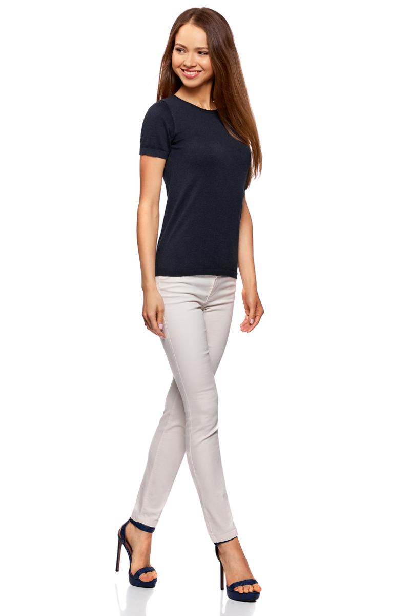 Джемпер женский oodji Ultra, цвет: темно-синий. 63812605B/46629/7900N. Размер XXL (52)63812605B/46629/7900N
