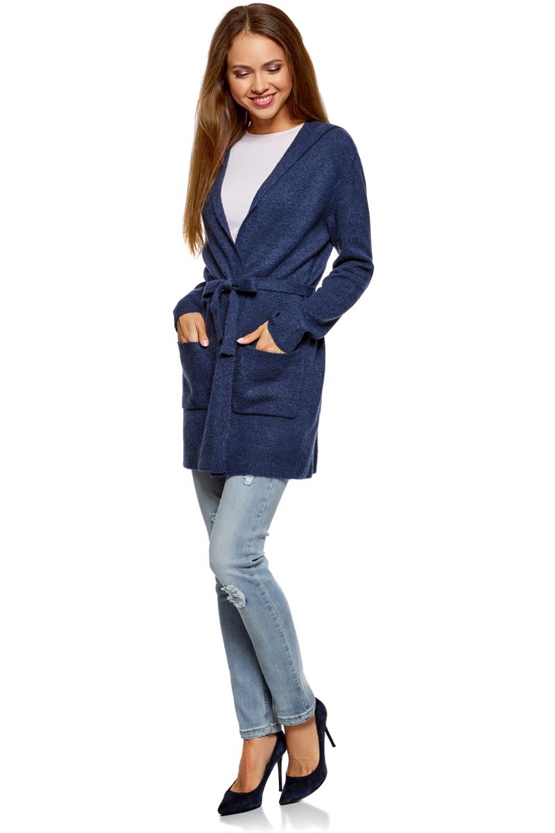 Кардиган женский oodji Collection, цвет: синий. 73207204-2/45963/7529M. Размер XXL (52)73207204-2/45963/7529M