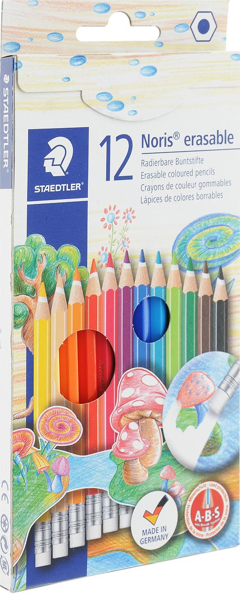 Staedtler Набор цветных карандашей Noris Club с ластиком 12 цветов14450NC1211Цветные карандаши Staedtler Noris Club обладают классической трехгранной формой с ластиком. Разработанные специально для детей, они имеют мягкий грифель и насыщенные цвета, а белое защитное покрытие грифеля (А·B·S) делает его более устойчивым к повреждению.С цветными карандашами Noris Club ваши дети будут создавать яркие и запоминающиеся рисунки.