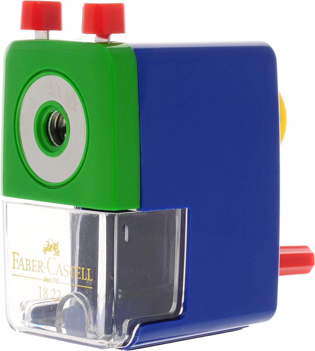 Faber-Castell Точилка настольная цвет синий582200_синийНастольная точилка Faber-Castell предназначена для круглых, шестигранных, трехгранных и цветных карандашей.Изделиеимеет прочное спиральное лезвие, предназначенное для максимально острой заточки карандашей. Точилка оснащена прозрачным контейнером для стружек и специальным зажимом для крепления к столу. Подходит для карандашей диаметром до 8 мм.