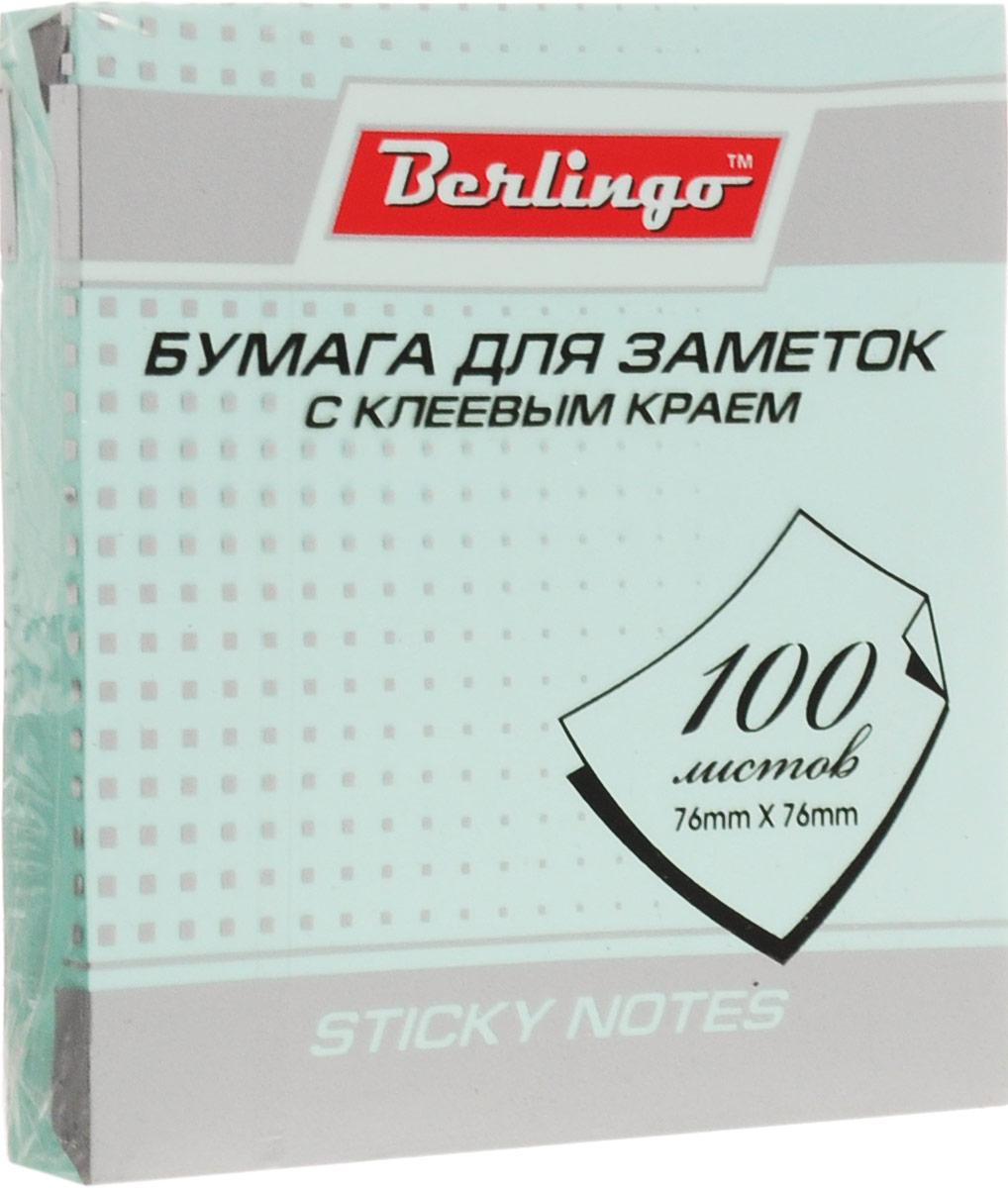 Berlingo Бумага для заметок с липким краем цвет светло-бирюзовый 7,6 х 7,6 см 100 листов