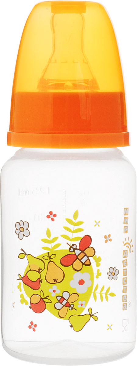 Мир детства Бутылочкадля кормления с силиконовой соской цвет оранжевый 125 мл