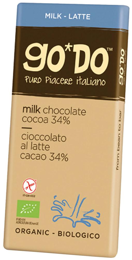 Icam Godo шоколад органический молочный 34% какао, 35 гК1070Шоколад ГОДО органический молочный 34% какао 35 г. Органический шоколад из Италии высшего качества. Великолепный вкус шоколада является неотъемлемой частью наслаждения жизнью. Уникальная упаковка.
