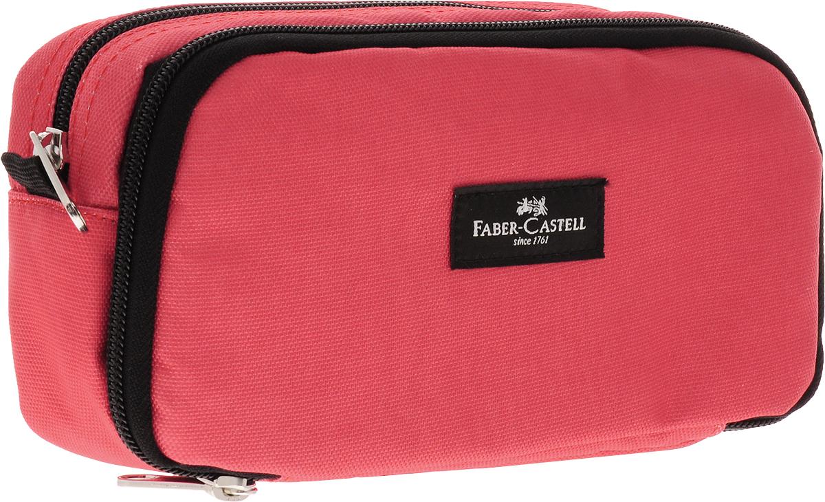 Faber-Castell Пенал цвет коралловый черный40496Школьный пенал Faber-Castell выполнен из текстиля и оформлен нашивкой с логтипом бренда. Пенал содержит два отделения, которые закрываются на молнии. В малом отделении расположены два накладных сетчатых кармана, один из которых застегивается на молнию, а другой на липучку.В таком пенале прекрасно разместятся и останутся в сохранности все письменные принадлежности.