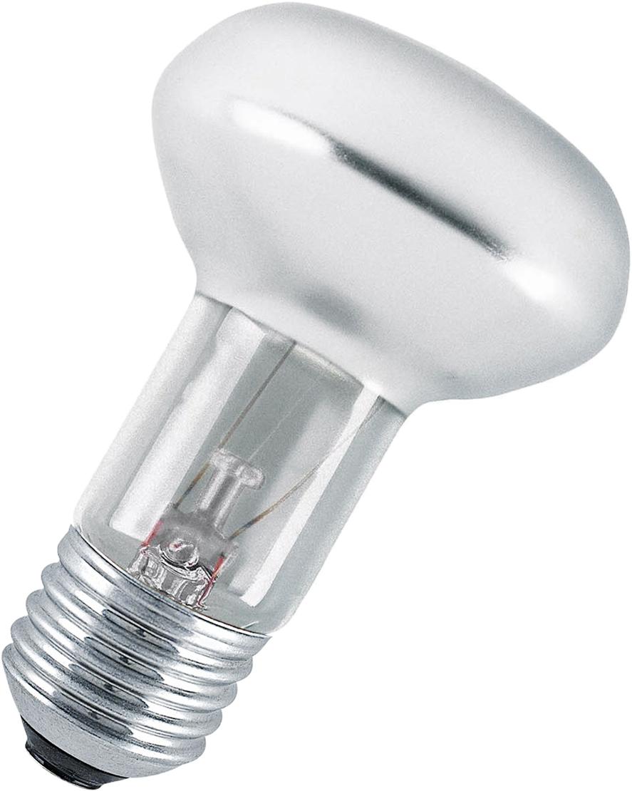 Лампа накаливания Osram Concentra R63 40W E27 40528991822404052899182240Конструкция лампы состоит из стеклянной колбы, заполненной инертным газом. Основу устройства составляет тело накала или вольфрамовая спираль, которая под воздействием электрического тока начинает излучать свечение.Лампы накаливания используются для всеобщего, местного и наружного освещения в быту и промышленности в сетях переменного тока напряжением 220 В частотой 50 Гц