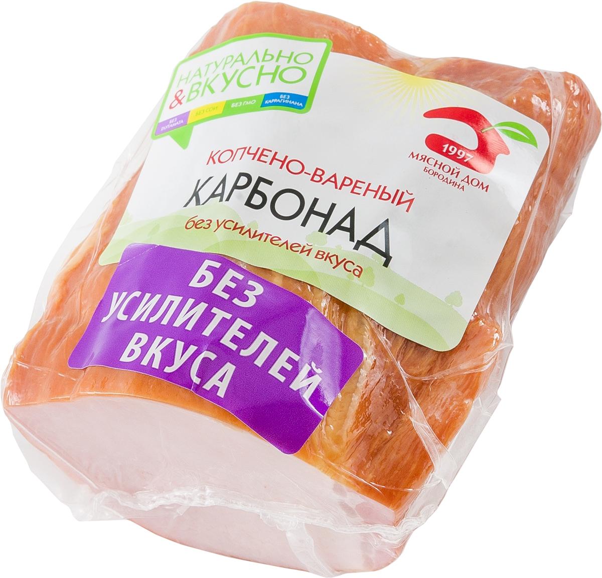 МД Бородина Карбонад копчено-вареный, 400 г1407Карбонад к/в 400г. Мясной продукт. Изделие из свинины копчено-вареное, охлажденное