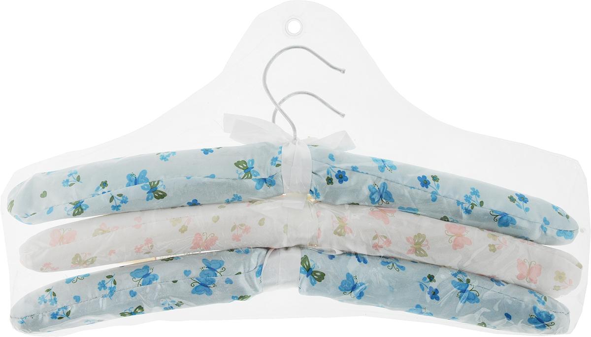 Набор вешалок для одежды Home Queen Цветы, цвет: голубой, белый, 3 шт набор для специй home queen цыплята близнецы с подставкой цвет желтый зеленый 3 предмета