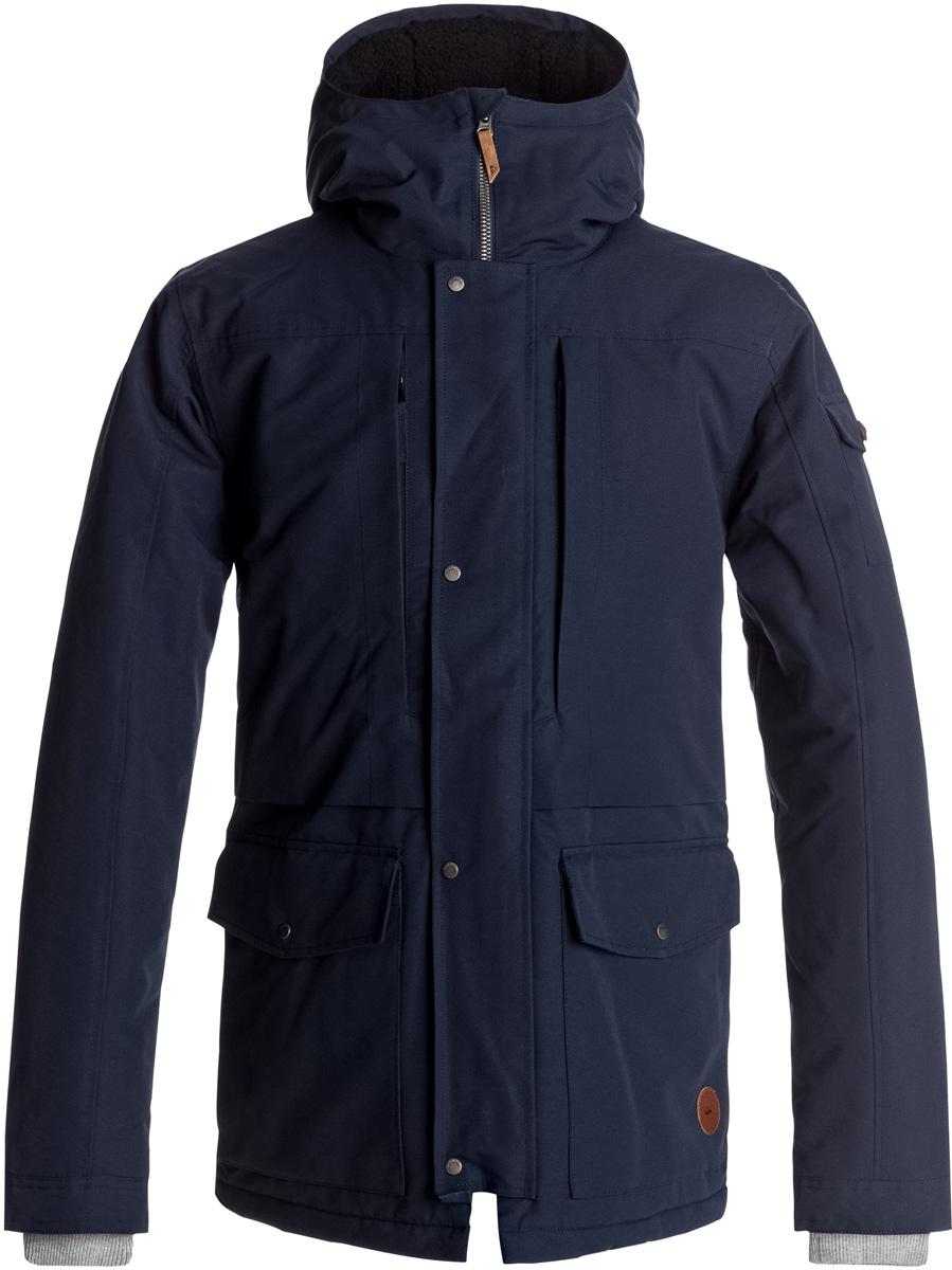 Куртка мужская Quiksilver Canyon, цвет: темно-синий. EQYJK03334-BYJ0. Размер L (50)EQYJK03334-BYJ0Мужская куртка Quiksilver Canyon изготовлена из технологичного водостойкого материала. В качестве утеплителя используется наполнитель 3M Thinsulate Type KK (240 г). На изделии предусмотрена сверхтеплая подкладка из шерпы. Все основные швы проклеены. Модель современного кроя с капюшоном застегивается на молнию с ветрозащитной планкой на кнопках. Размер капюшона можно регулировать. На рукавах предусмотрены трикотажные манжеты. Куртка имеет удобные карманы, из которых два утеплены.