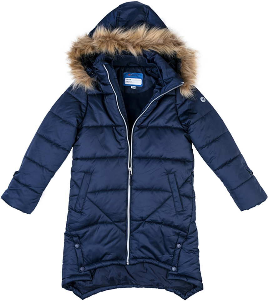 Пальто для девочки Scool, цвет: темно-синий. 374051. Размер 134374051Теплое пальто Scool выполнено из водонепроницаемой полиэстеровой ткани. Подкладка изготовлена из флиса, в качестве утеплителя используется полиэстер. Модель застегивается на молнию. Специальный ограничитель вверху не позволит застежке повредить подбородок. Несъемный капюшон дополнен опушкой из искусственного меха, которую при необходимости можно отстегнуть. Объем капюшона регулируется шнуром. Спинка модели заниженная. Воротник и манжеты изделия на мягких трикотажных резинках. Рукава дополнены кольцами для перчаток. Пальто спереди имеет два прорезных кармана.