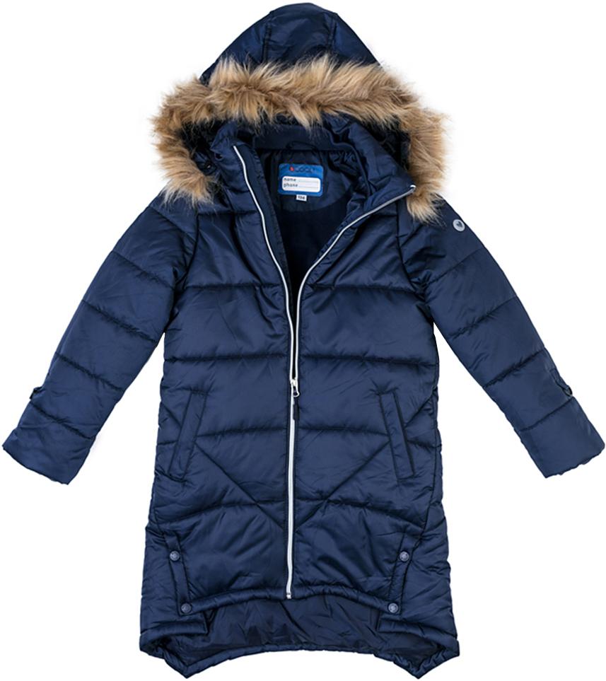 Пальто для девочки Scool, цвет: темно-синий. 374051. Размер 164374051