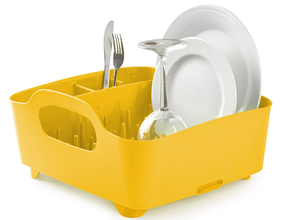 Сушилка для посуды и столовых приборов Umbra Tub, цвет: желтый, 18 х 38,1 х 35,6 см330590-1048Мобильная сушилка для посуды Umbra Tub, выполненная из пластика, состоит из пяти отделений: широкого - для сушки тарелок, чашек и сотейников и четыре маленьких для столовых приборов и аксессуаров. Выступы разной высоты на дне сушилки позволяют аккуратно расставить посуду. Это очень важный инструмент, так как Tub можно использовать и для компактного хранения. Благодаря ножкам и отверстию для слива, вода не будетзастаиваться, что предотвратит появление неприятного запаха. Сочетается с другими аксессуарами для кухни в новой цветовой палитре: диспенсером Joey и органайзером Saddle.