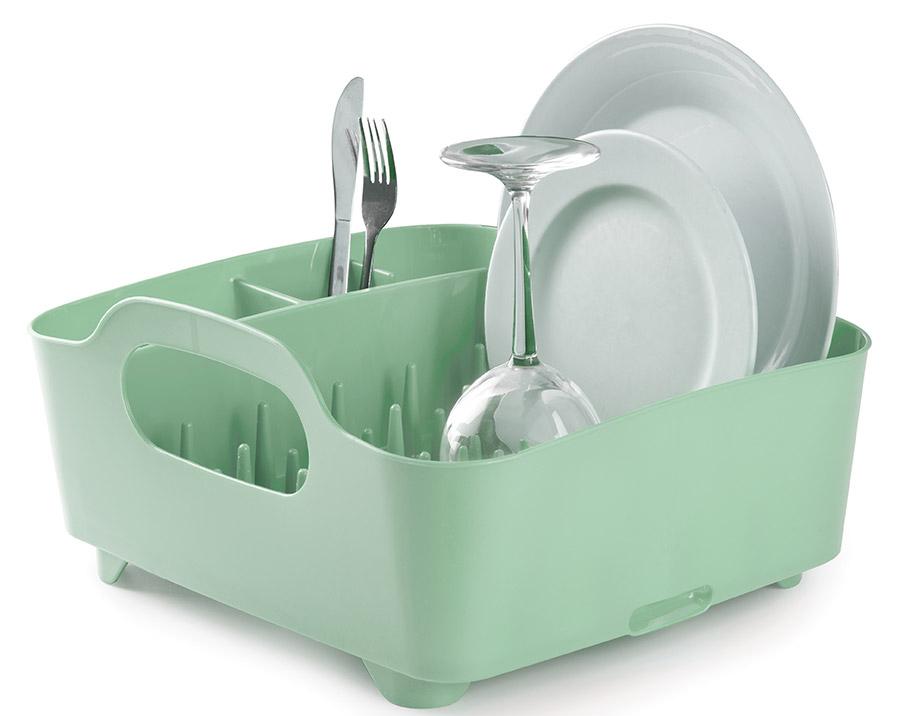 Сушилка для посуды и столовых приборов Umbra Tub, цвет: мятный, 9,1 х 38,1 х 35,6 см330590-473Мобильная сушилка для посуды состоит из пяти отделений: широкого — для сушки тарелок, чашек и сотейников и четыре маленьких для столовых приборов и аксессуаров. Выступы разной высоты на дне сушилки позволяют аккуратно расставить посуду. Это очень важный инструмент, так как Tub можно использовать и для компактного хранения. Благодаря ножкам и отверстию для слива, вода не будетзастаиваться, что предотвратит появление неприятного запаха.Сочетается с другими аксессуарами для кухни в новой цветовой палитре: диспенсером Joey и органайзером Saddle.Дизайнер David Green