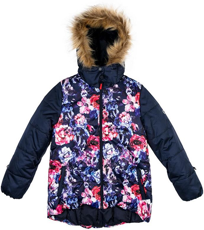 Куртка для девочки Scool, цвет: темно-синий. 374052. Размер 158374052Теплая куртка Scool выполнена из водонепроницаемой ткани с ярким цветочным принтом. Подкладка изготовлена из флиса, в качестве утеплителя используется полиэстер. Модель имеет внутреннюю планку и застегивается на молнию. Специальный ограничитель вверху не позволит застежке повредить подбородок. Несъемный капюшон дополнен опушкой из искусственного меха, которую можно отстегнуть. Воротник-стойка и манжеты на мягких трикотажных резинках. Спинка модели заниженная. Рукава дополнены кольцами для перчаток. Куртка спереди дополнена двумя прорезными карманами.