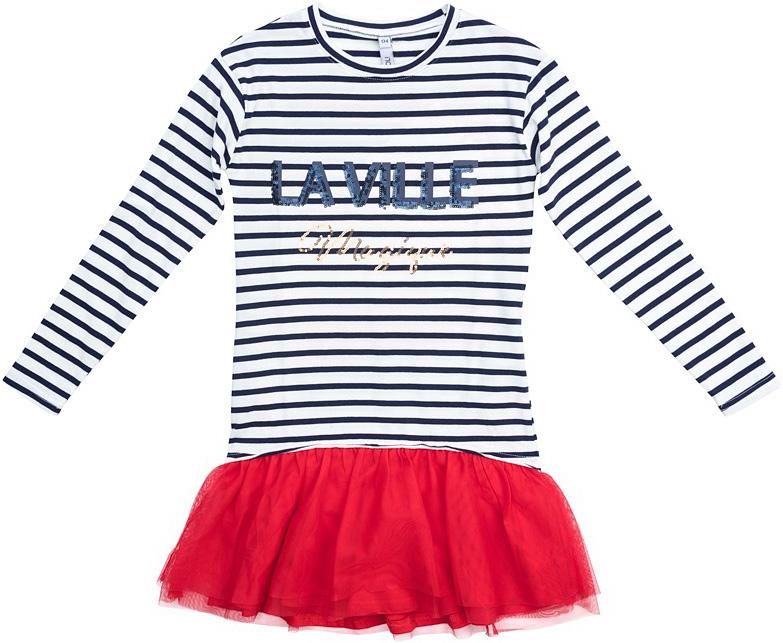 Платье для девочки Scool, цвет: белый, черный, красный. 374069. Размер 134374069Платье с заниженной талией Scool выполнено из хлопка с добавлением эластана. Модель имеет круглый вырез горловины и длинные рукава. Верх модели с принтом в полоску. Низ изделия дополнен юбкой из легкой сетчатой ткани контрастного цвета.
