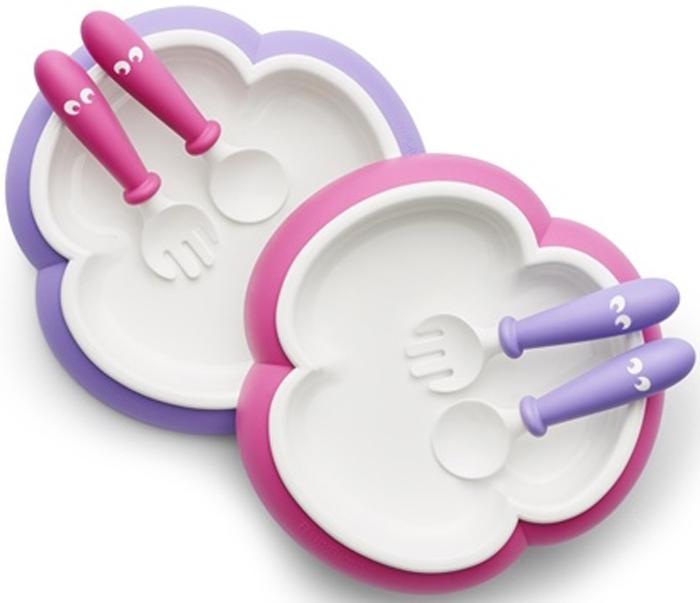BabyBjorn Набор детской посуды цвет розовый лиловый 6 предметов -  Все для детского кормления