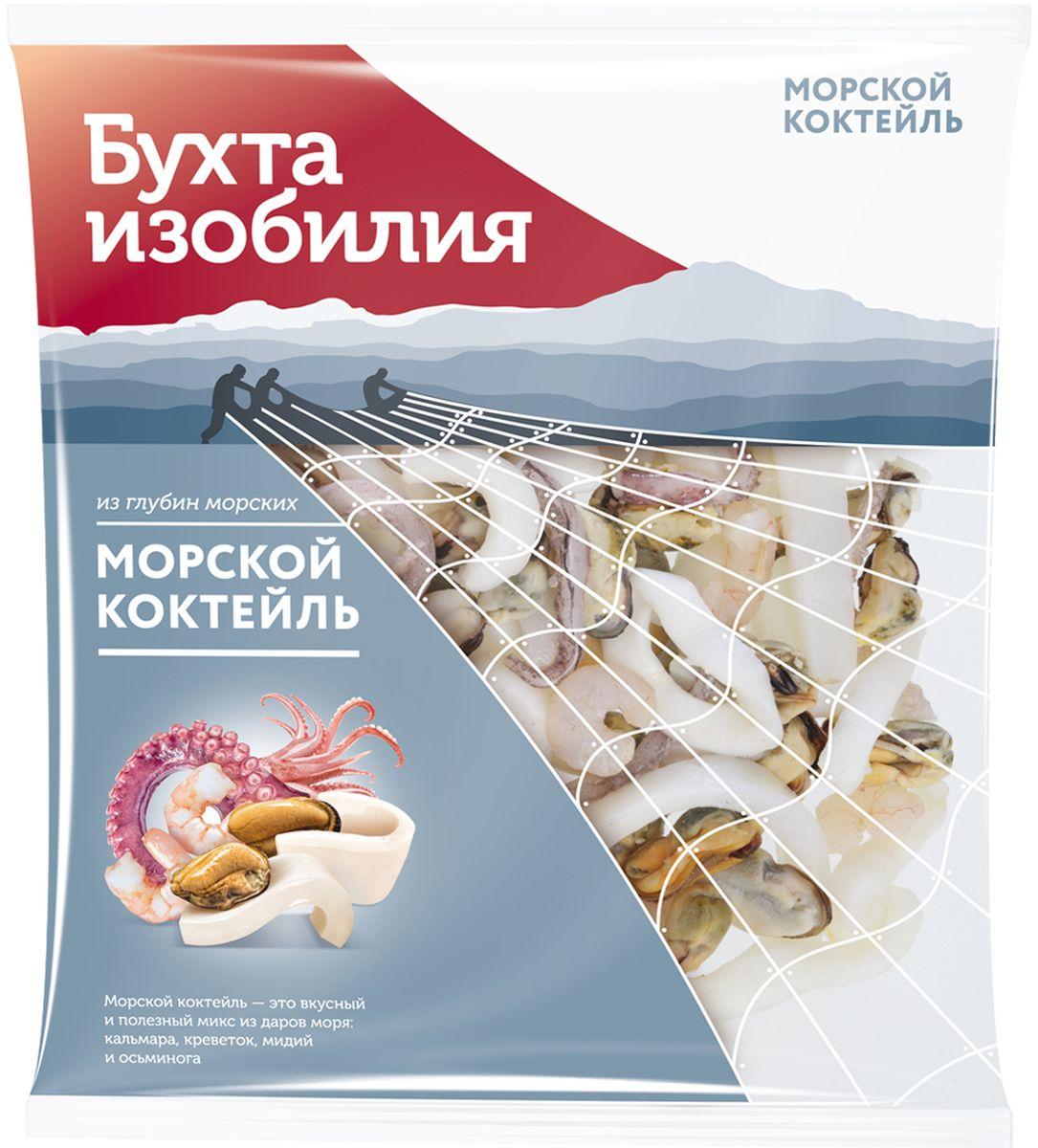 Бухта Изобилия Морской коктейль варено-мороженый, 430 г бухта изобилия фарш трески атлантической 450 г