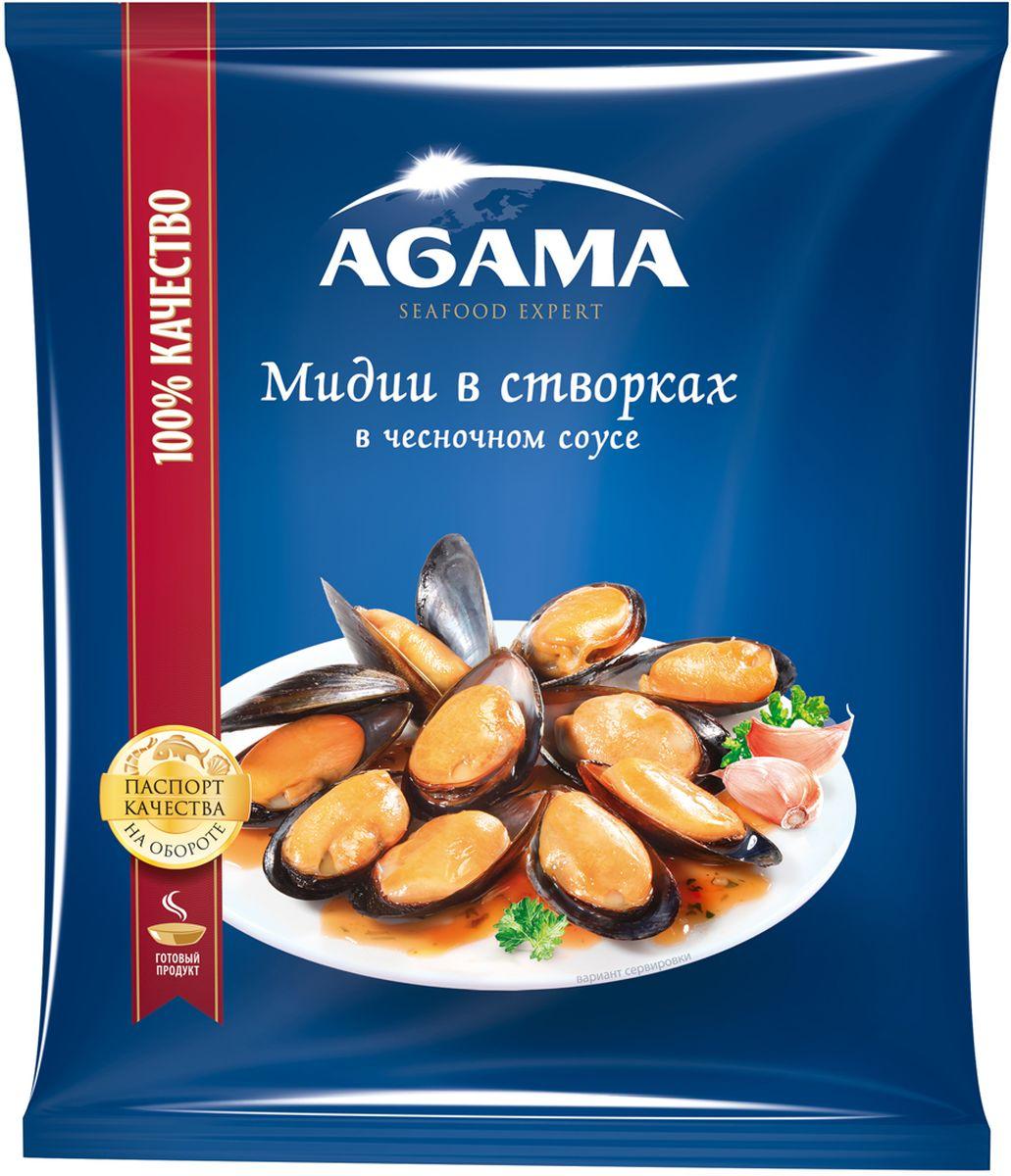 Agama Мидии в створках в чесночном соусе, варено-мороженые, 450 г националь чечевица красная 450 г